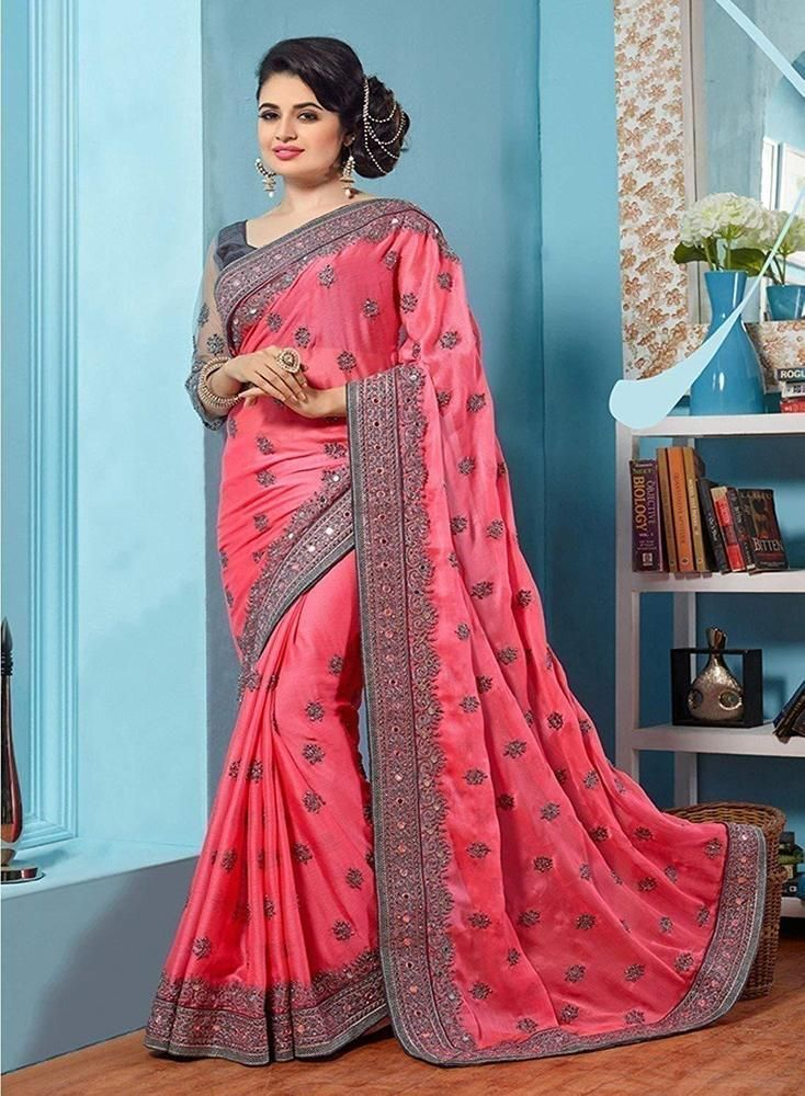 9ac32823fef23f INDIAN WOMEN WEDDING WEAR DESIGNER SAREE ETHNIC PINK EMBROIDERED CHIFFON  SARI  fashion  clothing  shoes  accessories  worldtraditionalclothing ...