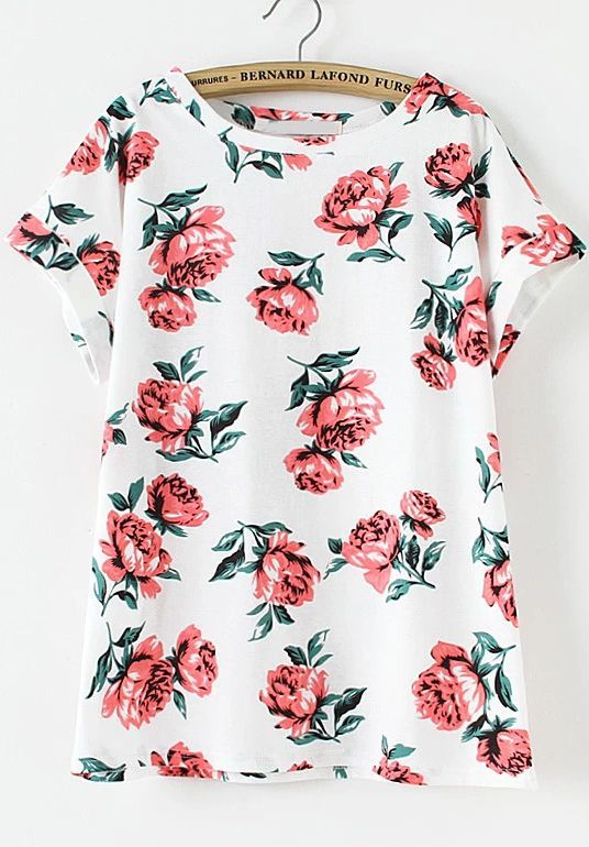 White Short Sleeve Floral Loose T-Shirt