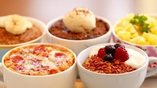 5 Microwave Mug Meals (Mug Pizza, Chocolate Brownie & More!) - Bigger Bolder Baking 106 - YouTube