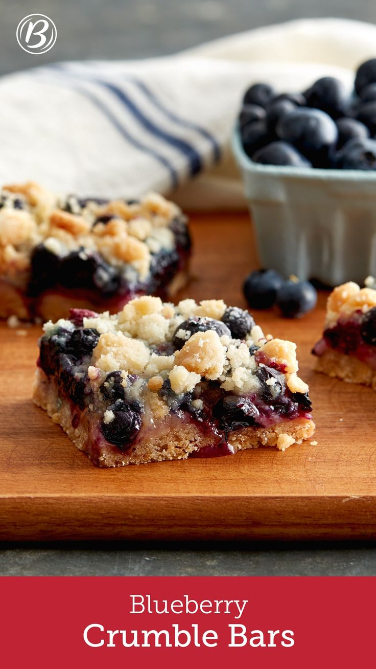 Fresh blueberries on a buttery cookie base and topped with a sweet crumble will be your new go-to summer bar.