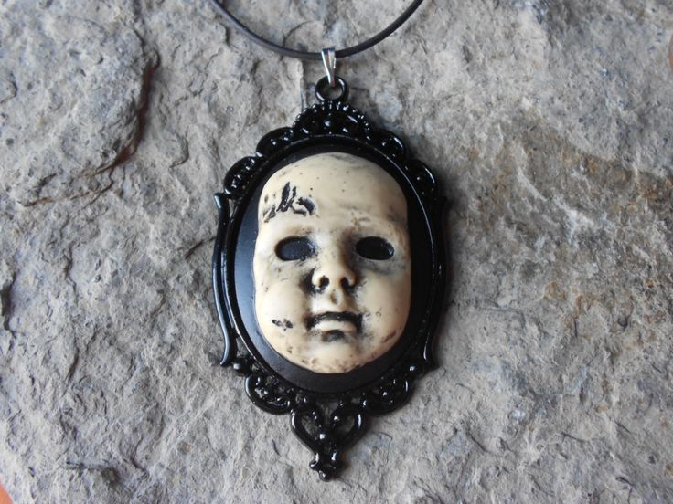 """Creepy Baby Doll, Zombie Baby, Zombie, Scary Doll,(Hand Painted) Cameo Pendant Necklace- 18"""" Leather Cord- Great Quality!! 2"""" Long - pinned by pin4etsy.com"""