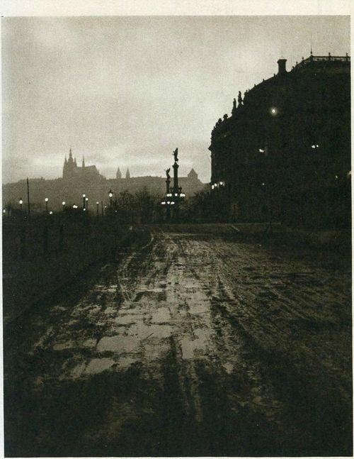 Prague by J.Sudek, 50's, street under Rudolfinum