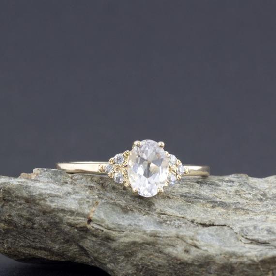 White Sapphire Ring White Sapphire And Diamond Ring Etsy White Sapphire Engagement Ring Engagement Rings Sapphire Emerald Engagement Ring