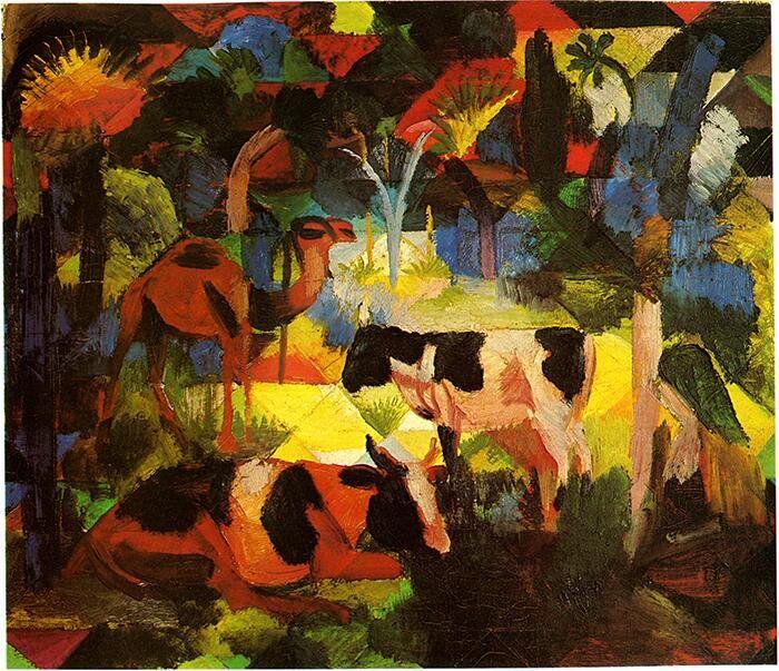 アウグスト・マッケ『牛とラクダのいる風景』(1914) August Macke - Landschaft mit Kühen und Kamel  #表現主義 #ブリュッケ