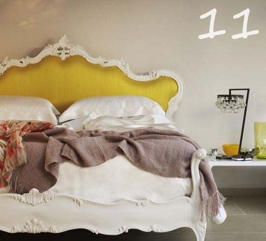 Glamorous French antique Queen Anne style bed & bedhead with rich yellow fabric and ornately edged detail