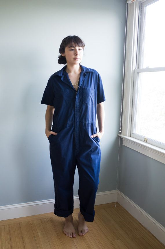 Vintage Walls Workwear Jumpsuit / Navy Blue Cotton Coveralls / Unisex Adult Clothing