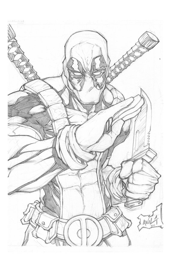 Deadpool Original Pencils Inks and 2 colored print by