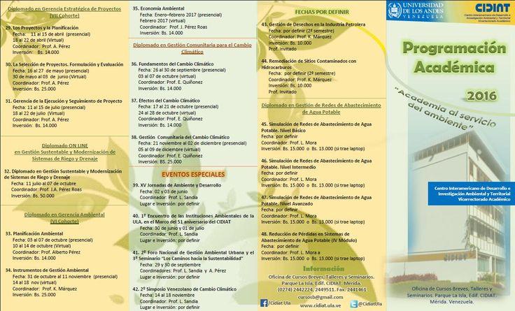 Nuestra Programación Académica 2016. #cursos, #postgrado, #ambiente, #recursosnaturales, #ULA