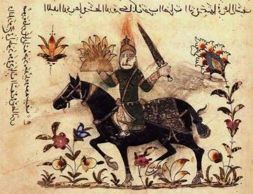 folio 131v. A single rider with an iron helmet on his head and a sword in his hand. Fire glows from the helmet, sword blade and the middle of the shield.   Executed under the Mamelukes, in Syria or Egypt. Source: British Library, Add. 18866.
