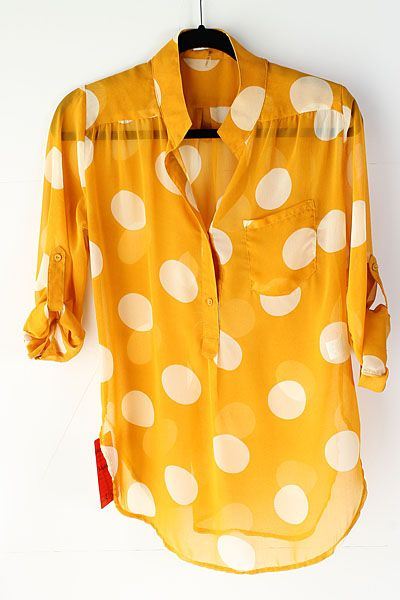 Yellow polka dot sheer blouse