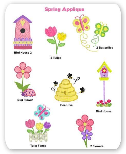 Spring Embroidery Applique Designs Garden Flower Butterfly Bee Bird House Tulip Ladybug