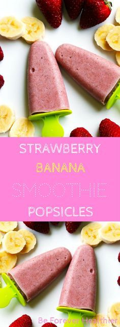 These Strawberry Banana Smoothie Popsicles will keep you cool in Summer (but let's face it, you could eat them all year round!)...