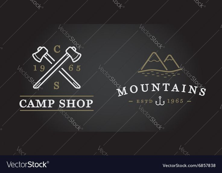Vector image of Set of Camping Camp Elements and Outdoor Activity Vector Image, includes tree, woods, retro, travel & summer. Illustrator (.ai), EPS, PDF and JPG image formats.