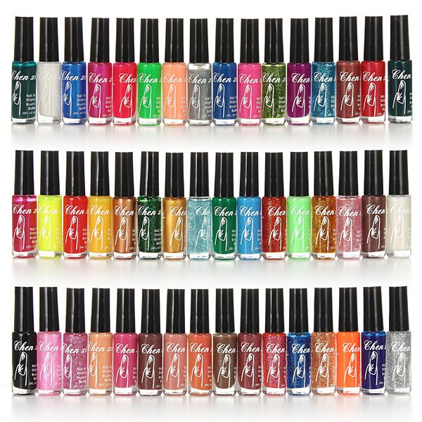 12/24/36/48Pcs 10ml Shimmer Thin Nail Polish Liner Brush