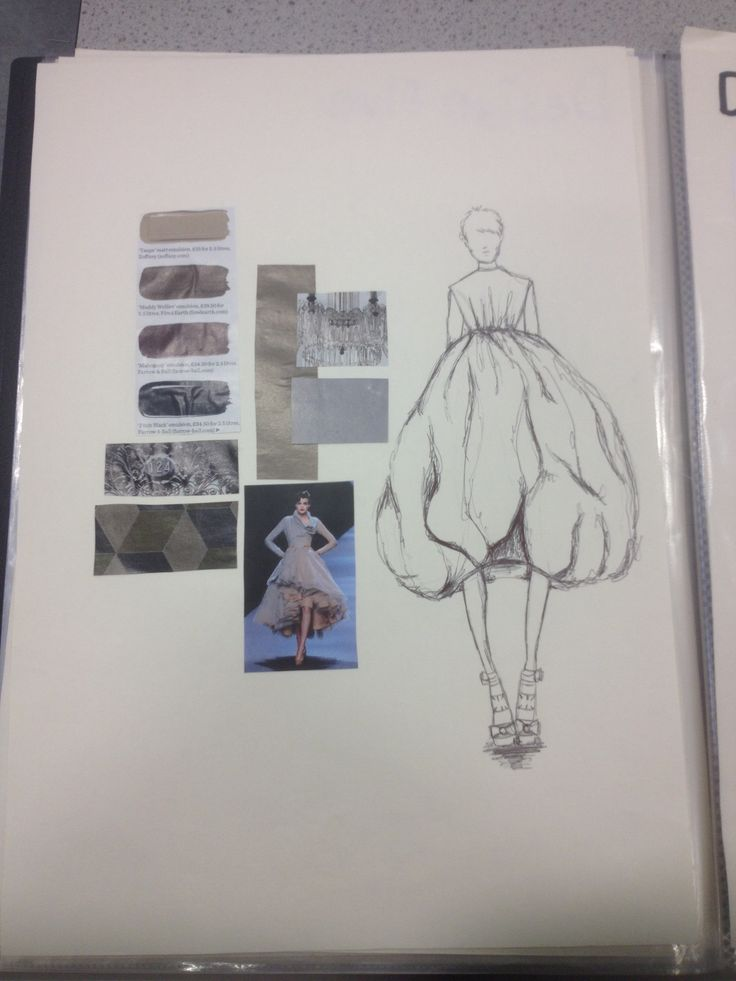 Fashion Portfolio - fashion design inspired by the 1950's - dress drawing & muted colour palette; fashion sketchbook // Sarah Davies