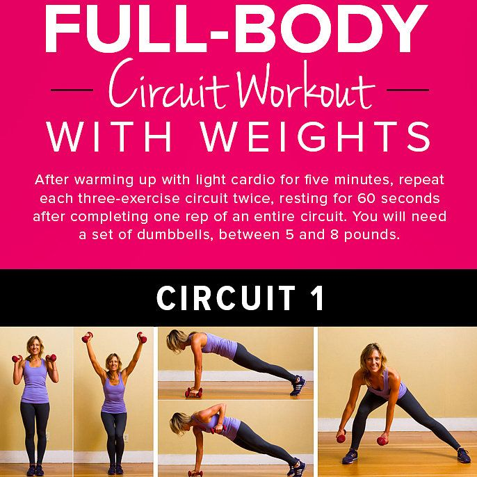 Circuit Training Combining Cardiovacular Work With Weight: Print This Now! Full-Body Circuit With Weights