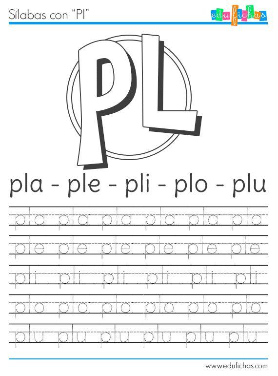 Sílabas con P, PR y PL - Fichas educativas gratis, recursos para el aula. Edufichas.