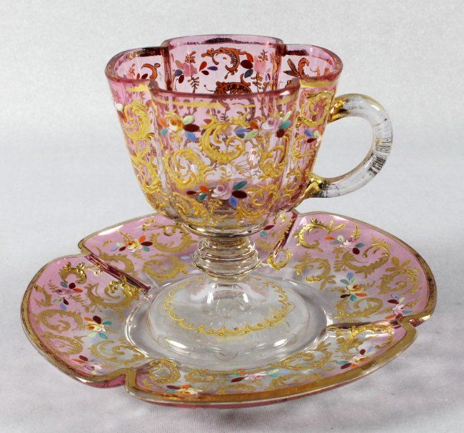 *MOSER ~ Decorated cup + saucer