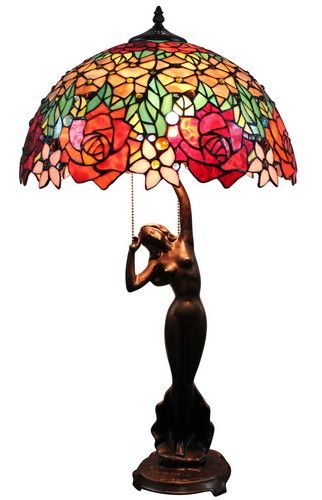"""Handcrafted Floral Styled Tiffany Style Stained Glass Table Lamp w 18"""" Shade 