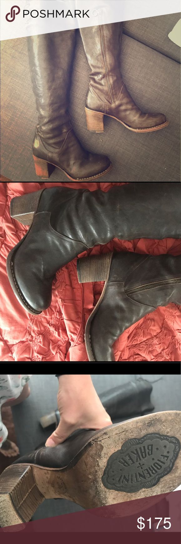 Fiorentini + Baker brown leather knee high boots Beautiful chocolate brown leather boots with lace up details on the back of the knees. Can also roll the tops down for a different look. Some light scuffs here and there but nothing to noticeable. Fiorentini + Baker Shoes Heeled Boots