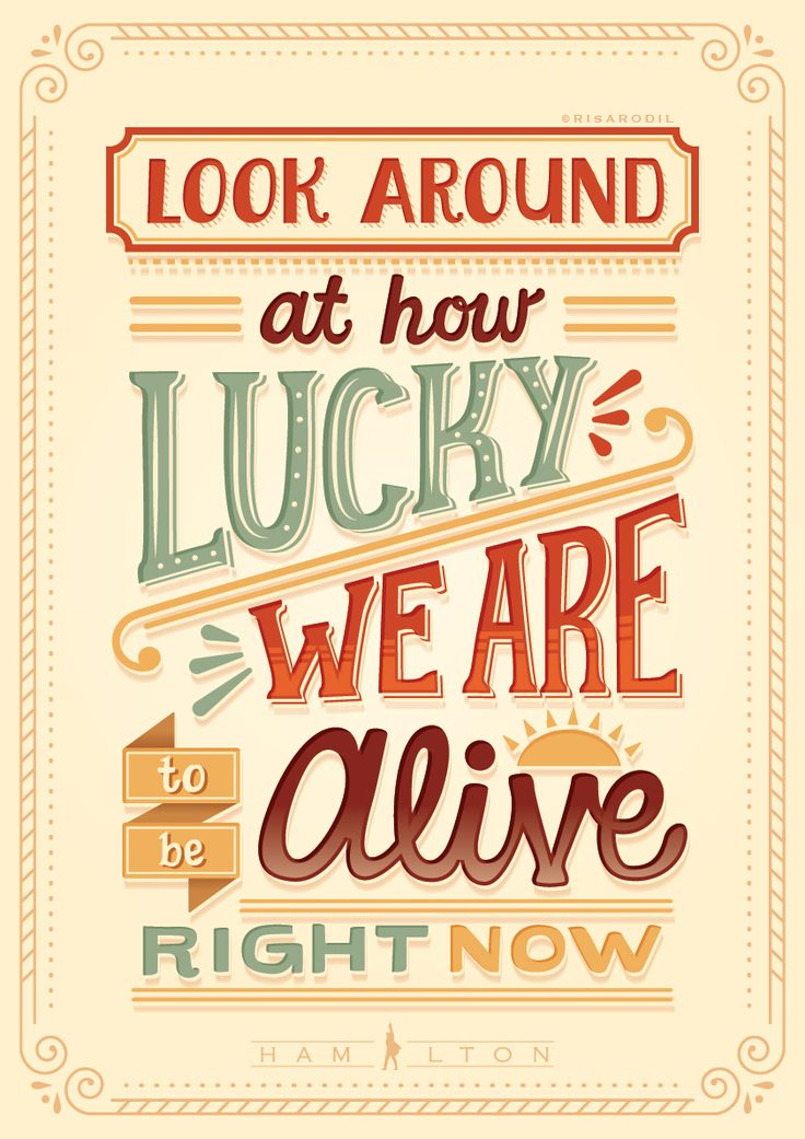 Hand-lettered posters out of lyrics from Hamilton songs.