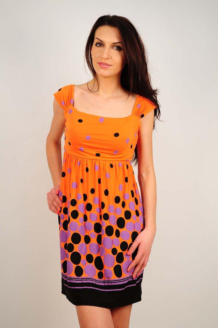Rochie RVL oranj cu imprimeu cu buline