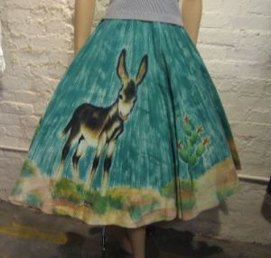 50s Handpainted Mexican Vintage Skirt with a donkey and cactus