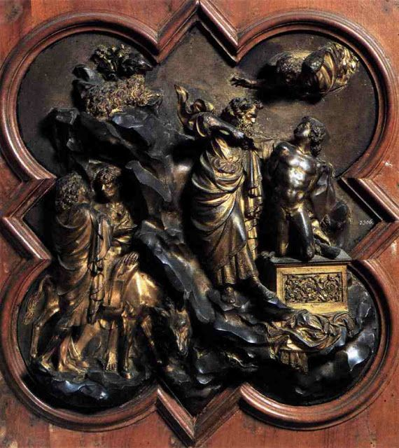 Le Sacrifice d'Isaac, par Lorenzo Ghiberti - détail du portail Nord du baptistère San Giovanni, à Florence