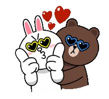 Brown & Cony wearing sunglasses