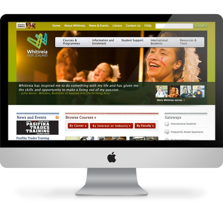 Visual design, IXD, html & css build for Whitireia Polytechnic. Built on Sharepoint. - Working for Lushai
