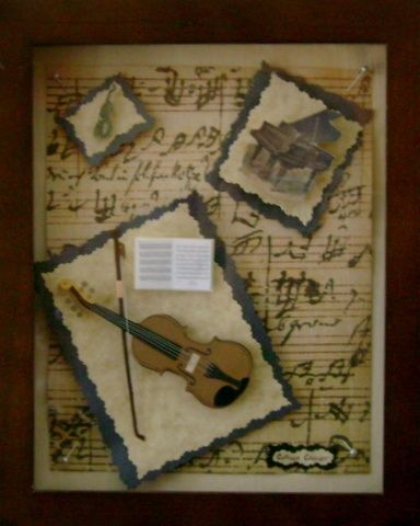 Vintage Wooden Shadow Box & Music Box Singing