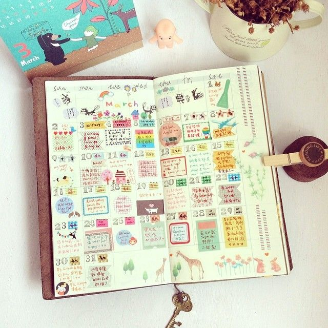 Instagram @iverylovebeibei | good bye March | Webstagram midori traveler's notebook