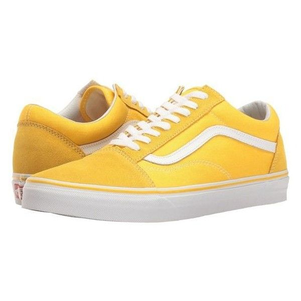 6ef280714bf9 Vans Old Skool Suede/Canvas) Spectra Yellow/True White) Skate Shoes ❤ liked  on Polyvore featuring shoes, sneakers, white sneakers, white trainers, suede  ...