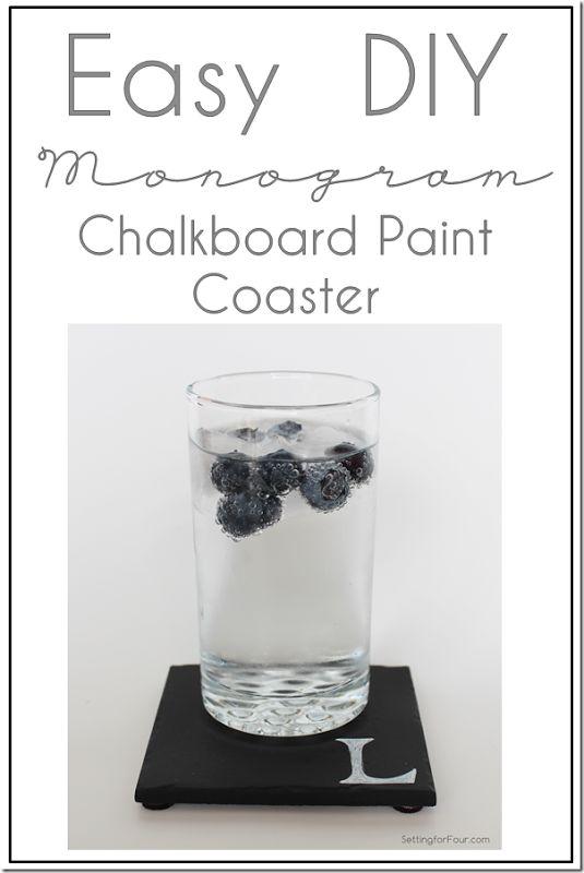 Monogram Chalkboard Paint Coaster DIY www.settingforfour.com
