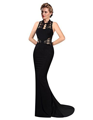 a28769300f3 KoJooin femme robe bodycon dentelle femmes sexy robes dos nu sirene maxi  robe nuptiale robe de soiree cocktail Noir L