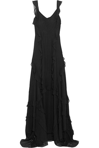 Elizabeth and James - Catherine Ruffled Silk-chiffon Gown - Black