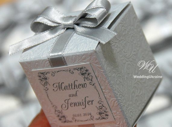 Any Quantity of Wedding Favor Candy Boxes --------  DETAILS: - White Wedding Favor Box (white shimmered pattern cardboard) - Elegant