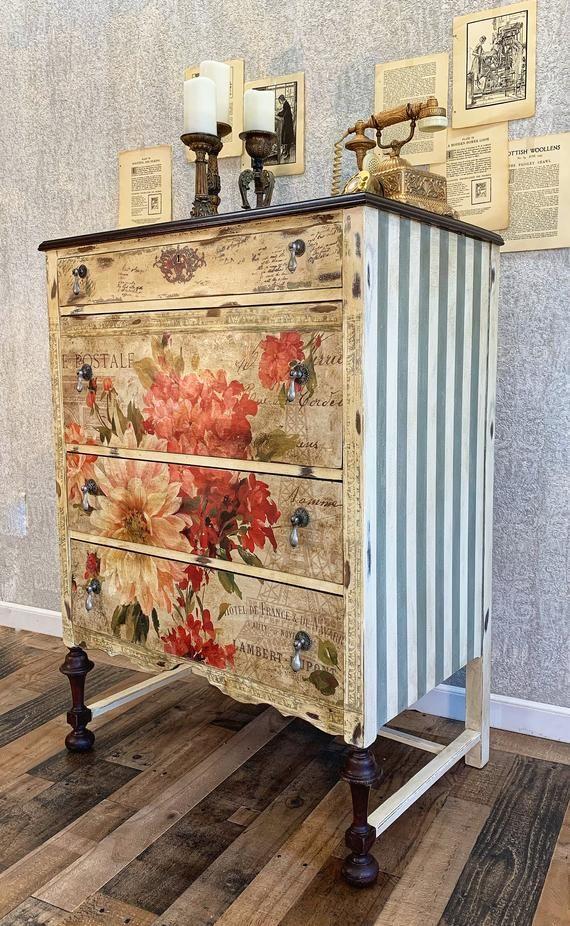 Sold Hand Painted Antique Fl Dresser Etsy