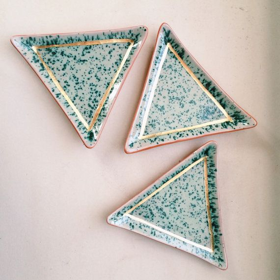 triangular speckled ring dish by theobjectenthusiast on Etsy