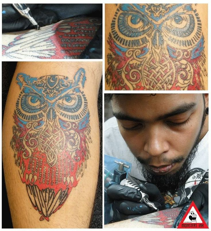 Trippy Owl #trippy #owl finally finished! Two and a half hours of#tattooing .  #darkskintattoo #celticcross #gurgaon #delhi#colourtattoos #monstersink #nimztattooz