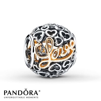 Pandora Charm Message of Love Sterling Silver/14K Gold