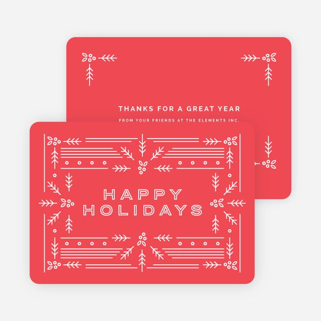 Modern Holly Corporate Holiday Cards from Paper Culture