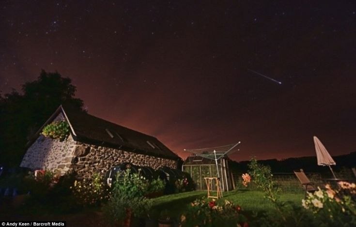 This is the annual Perseid Meteor Shower as witnessed from Powys, Wales, today at 2am. The image was captured by photographer and 'Aurora Hunter' Andy Keen