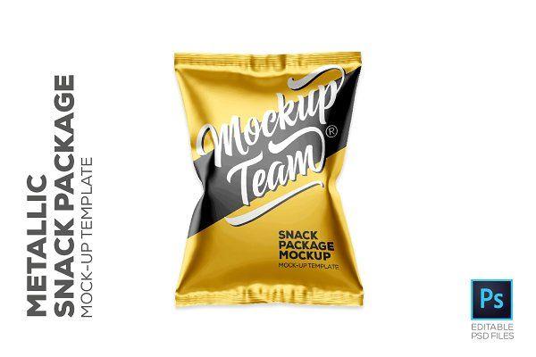 Metallic Snack Package Mockup Psd Mockup Free Mockups Psd Free Packaging Mockup Snacks Mockup Psd