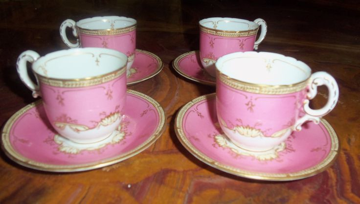 Antique Royal Worcester Teacups / Four Sets / Pink Encrusted With Gold Embellishments/ Tea Party/ Dinner Party / Wedding Gift by StyleJunkieAntiques on Etsy