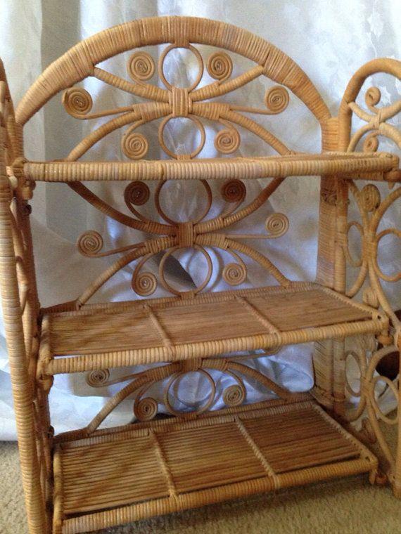 Vintage Rattan or Wicker Shelf on Etsy, $25.00