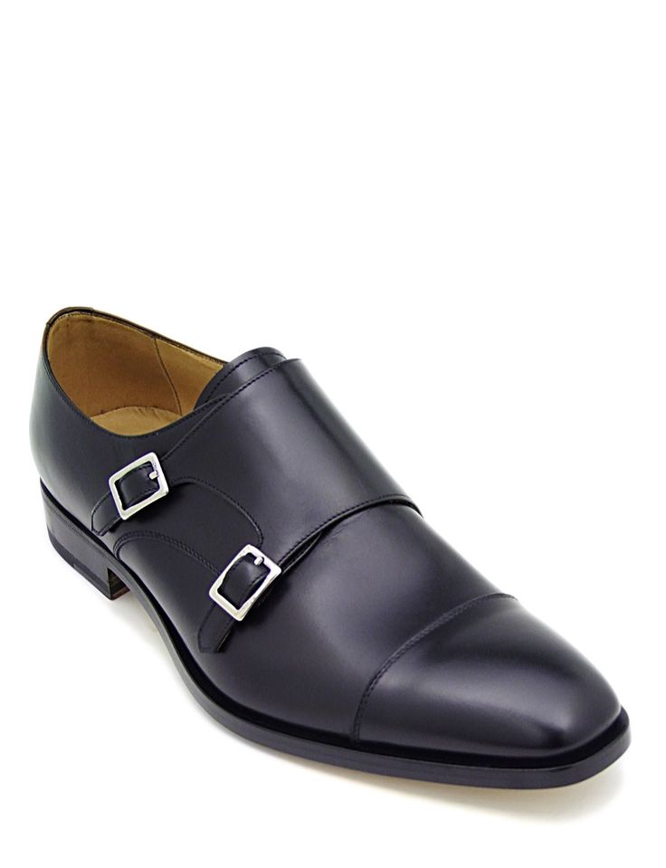 #Monkstrap in black calfskin leather. #Blake construction and leather sole. Its authentic character makes it ideal for everyday wear with a #casual #style. It can be worn with a formal #dress or a pair of tight jeans at the bottom.