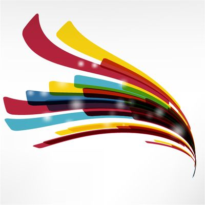 A set of abstract colorful wavy stripes with few white glowing lights over it. Enjoy!!