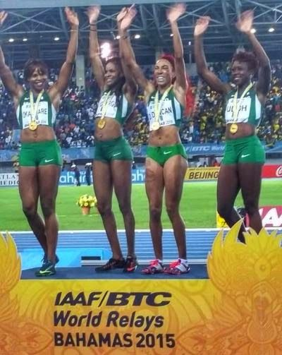 Nigerian team won in the women's 4x200m gold quartet at the IAAF/ BTC World Relays, Bahamas 2015.