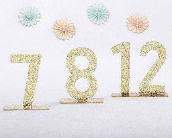 Gold Glitter Acrylic Table Numbers (7-12)